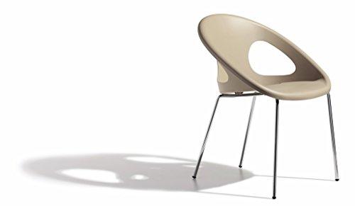 Chaise DROP 4 PIEDS - Couleur - Taupe - design - Technopolymère recyclable et tube en acier chromé