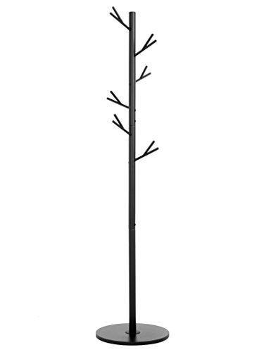 GREENTAINENGZMR Gaderobenständer Metall Schwarz Baum Kleiderständer Garderobe Ständer Stabil Belastbar Fahrbar Modern für Büro Bad,40 x 40 x172.5 cm