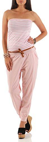 malito Damen Einteiler gestreift | Overall mit Gürtel | Jumpsuit im Marine Look - Playsuit - Romper 9610 (rosa) (Italienische Baumwolle Streifen)
