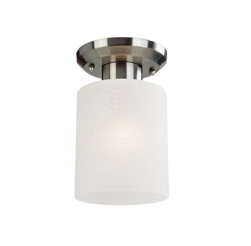 Z-Lite 152F-1 Cobalt One Light Flush Mount, Metal Frame, Brushed Nickel Finish and White Linen Shade of Glass Material by Z-Lite -