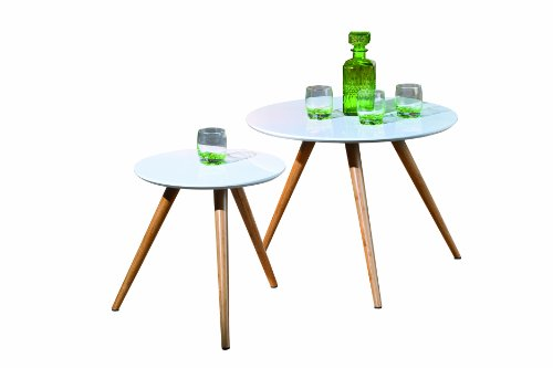 Links Phillis - Juego de mesas auxiliares (2 unidades, fibras de madera y bambú), 60 x 46 cm/ 40 x 40.5 cm, color blanco