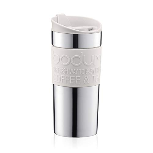 Bodumtravel mug Thermobecher aus Edelstahl (Doppelwandig, Spülmaschinengeeignet, 0,35 liters) off White