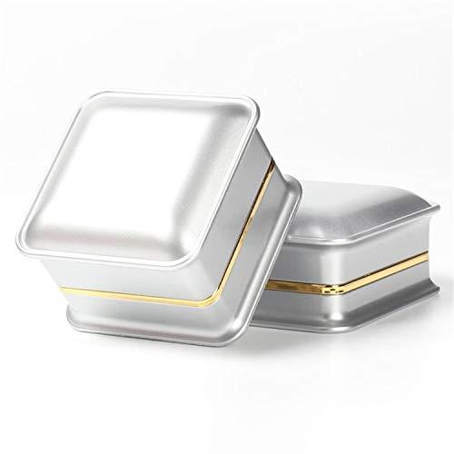 YasLa Roele Schmuckschatulle Ring Box Anhänger Box Box Geschenkboxen Mit LED-Leuchten Portable Romantische Schöne Funkelnde Edle Elegante Box Valentinstag Rose Gold Weiß 2 Stück