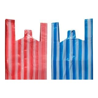 Vest Style Carrier Bags, Striped Vest Carrier Bags 11 X 17 X 21