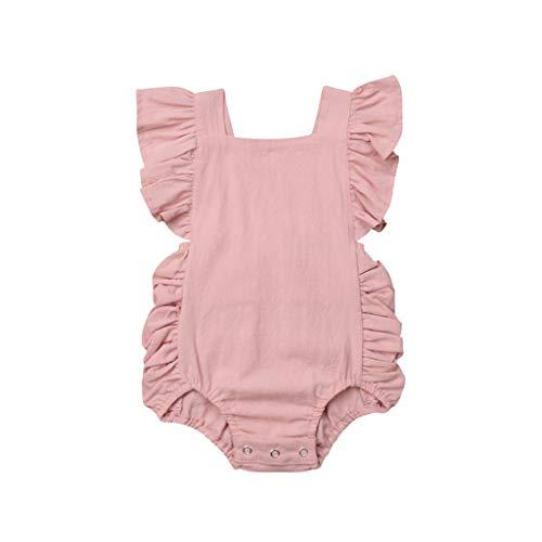 JUTOO Sommer Kleinkind neugeborenes Baby Kinder Jungen mädchen rüschen einfarbig Strampler Bodysuit Overall Kleidung (Rosa 1,70)
