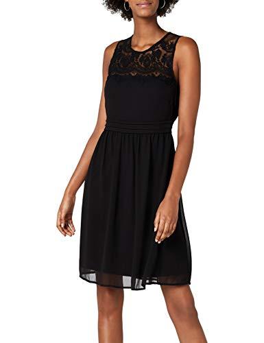 VERO MODA Damen VMVANESSA SL Short Dress NOOS Kleid, Schwarz Black, 36 (Herstellergröße: S) -