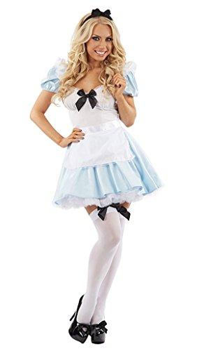 MIXLOT Frauen sexy erwachsene Mädchen Alice im Wunderland Tee Party Halloween Kostüm Scary Creepy Fancy Kleid Größe S-XL (Medium, Alice im Wunderland Kostüm) (Sexy Jane Kostüme)