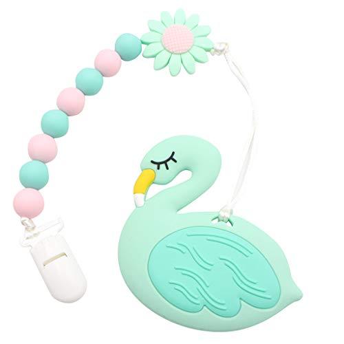2 Pack schöne Gans Form Schnuller Clips 100% BPA frei Silikon Kinderkrankheiten Perlen Binky Spielzeug Safe Schnuller Schnuller Beißring Halter Kind Baby Shower Geschenk für Neugeborene (Blue)
