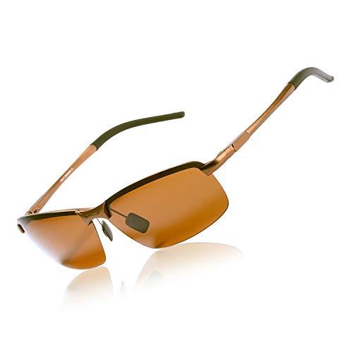 OSVAW Herren Polarisierte Fahren Sonnenbrillen Sport im Freien Brille Unzerbrechlich Federscharnier Ultra leicht AL-MG Rahmen Schwarzes Objektiv für Männer (Braun)