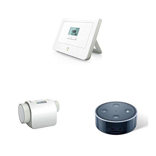 innogy SE SmartHome Zentrale / SmartHome Steuerung, App-Steuerung (auch über Amazon Echo/Alexa) plus 3x innogy SE SmartHome Heizkörperthermostat plus Amazon Echo Dot (2. Generation), Schwarz