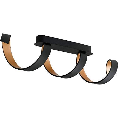 Plafonnier Led design HELIX noir et doré en aluminium