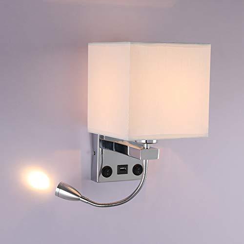 Tioodre lampada da parete a led da lettura da comodino con usb home focus lampada da lettura a led a braccio oscillante applique da parete soggiorno 2 interruttori supporto led 3w ed e27