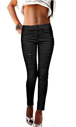 Damen Jeans Hosen eng zerrissen in schwarz weiß rosa Stretch Used Destroyed, Größe:M, Farbe:Schwarz