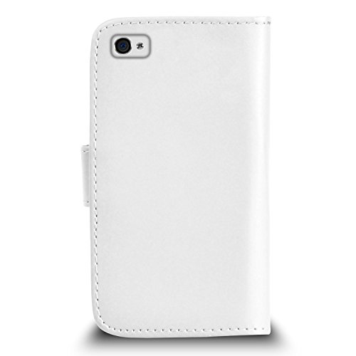 POUR Apple iPhone 4 / 4S - SHUKAN® Prime Cuir NOIR Portefeuille Cas Coque Couverture avec Big Toucher Style Stylo VERT Cap Protecteur d'écran & Tissu de polissage BLANC