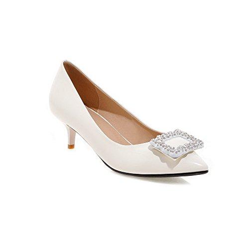 VogueZone009 Femme Pu Cuir Mosaïque Tire Fermeture D'Orteil Pointu à Talon Correct Chaussures Légeres Blanc