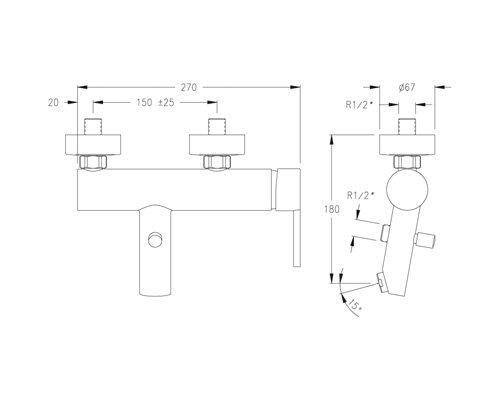 Ramon Soler 217221 Monomando Baño Equipo de Ducha, Modelo Drako, Cromado
