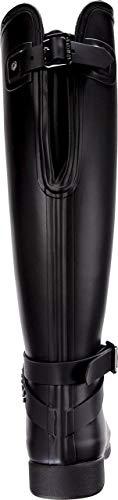 Hunter Womens Refined Back Adjustable Calf Stud Tall Rain Boots Black Studded Flat