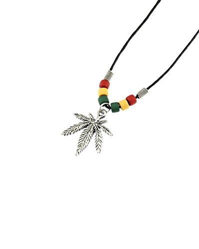 Zacs-Alter-Ego-Collier-avec-pendentif-en-forme-de-feuille-de-marijuana-sur-cordon-en-cire-avec-perles-rasta