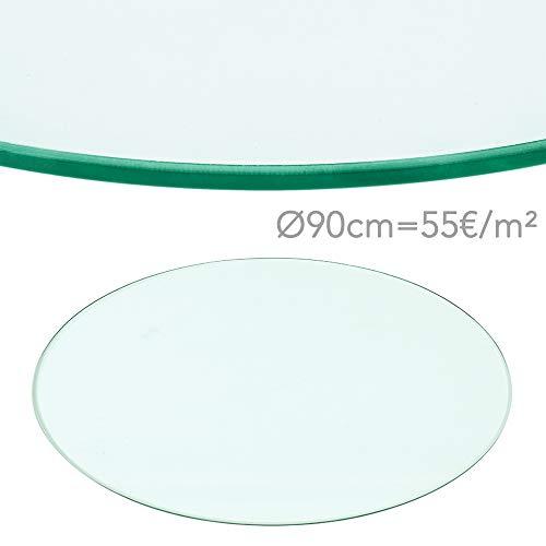 Glastisch Tischplatte aus gehärtetem Glas Tisch Glasplatte rund 900 mm  10 mm DE