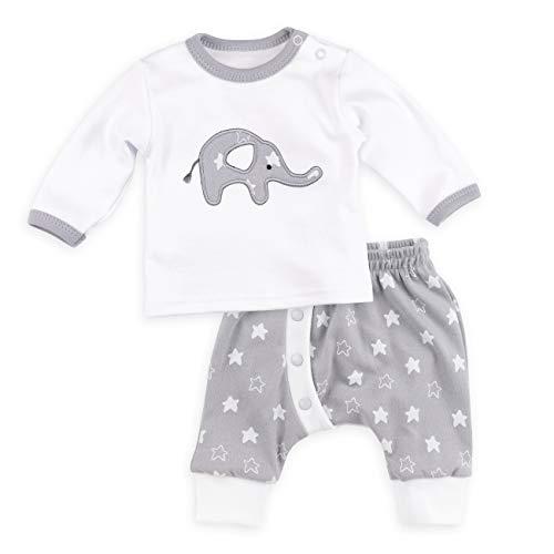 Baby Sweets Baby Set Hose + Shirt Unisex weiß grau | Motiv: Little Elephant | Babyset mit 2 Teilen für Neugeborene & Kleinkinder | Größe 1 Monat (56) Elephant Hose