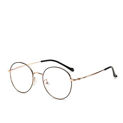 Zebuakuade Männer und Frauen Retro-Brille Rahmen runde Brille Nicht Brillen für Frauen, Männer (Color : Black-Gold)