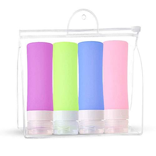 JasCherry Silikon Reisen Flaschen Set - BPA-frei und TSA-Airline Genehmige Auslaufsichere - Behälter und Accesoires für Shampoo/Spülung/Cremes - 4 Stück / 80 ml