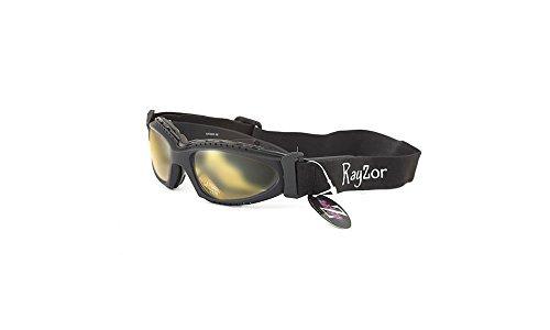 Rayzor Professionelle UV400 Black 2 In 1 Ski- / Snowboard Sonnenbrille / Schutzbrille, mit einem Antibeschlagmittel behandelt Klar Gelb Blend Clarity-Objektiv und ein abnehmbare, elastische Stirnband.
