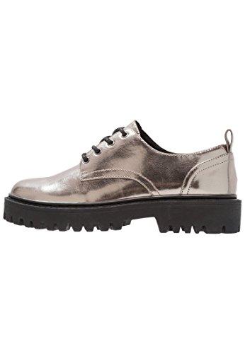 Even&Odd Damen Halbschuhe – Plateau Schnürer elegant - Silberne Schuhe zum Schnüren, Größe 41