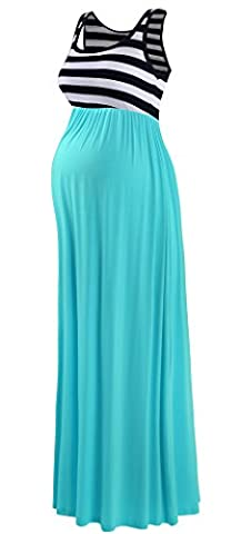 Neonysweets Women's Pregnancy Maternity Contrast Maxi Tank Dress Comfortable Black Stripe Cyan M