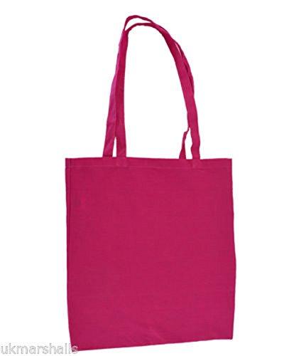 10 x Tote Bag Taschen 'Euro' - 145gsm Baumwolltasche 4 Farben 38x41cm Hot Pink