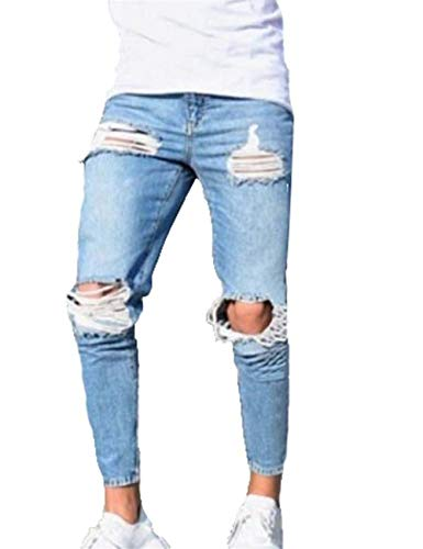 BOLAWOO Männer Nner Hosen Super Skinny Löcher Fit Stretch Zerrissene Jeans Bsche Mode Marken Mode Design Denim Hose Jeanshose (Hellblau) (Color : Hellblau, Size : 4XL)