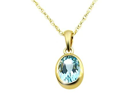 Ivy Gems 9ct Yellow Gold Oval Blue Topaz Rub Over Pendant Rope Chain of Length 46cm