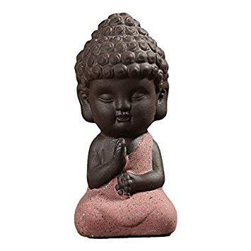 , Kleiner Mönchskulptur, klein wie verehrtes Yoga, Keramik, Tee-Zeremonie Dekorationen, Colored Sand red, 04 ()
