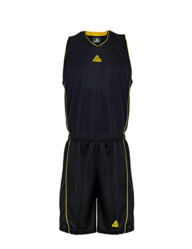 PEAK Sport Europe Basketball Team Uniform Set Trikot und Shorts, Black/Yellow, XXXL, F771103 (Riesen Uniform)