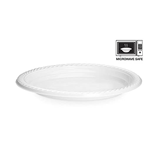 [100 Pack] High Quality Extra Strong Disposable Plastic Plates Microwave Safe White (22cm-9inch)  sc 1 st  Amazon UK & Disposable Plastic Plates: Amazon.co.uk