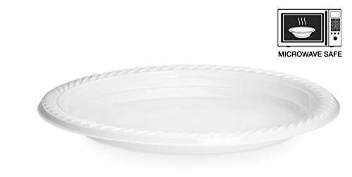 [100 Pack] High Quality Extra Strong Disposable Plastic Plates Microwave Safe, White (22cm-9inch)