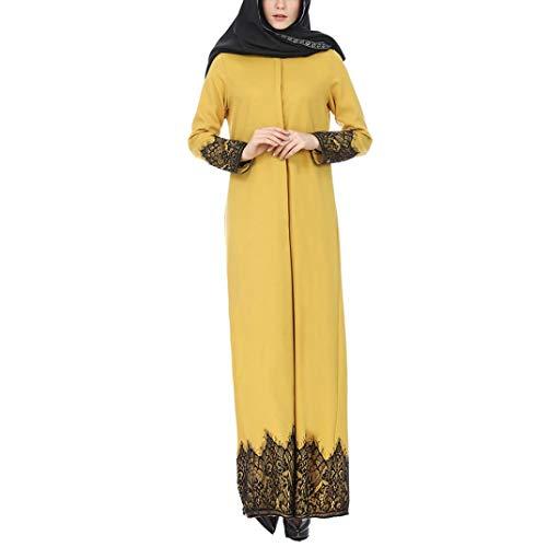 WWricotta Muslimische Frauen Baumwolle Lace Trimed Front Robe Abaya Maxi Kaftan Kimono Partykleid