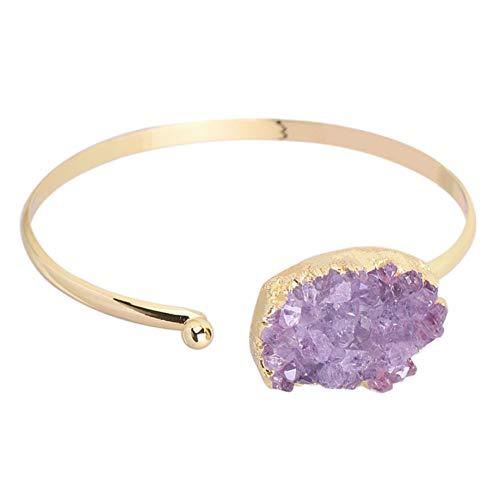 MHOOOA Mode Manschette Armband Für Frauen Naturstein Lila Quarz Kristall Halb Offen Gold Farbe Armreif Jede Handgelenk Größe Schmuck