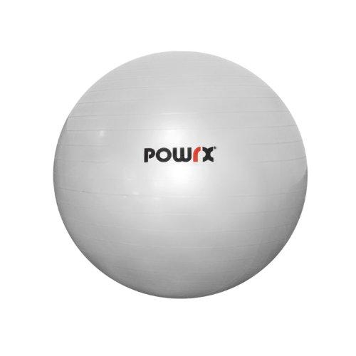 POWRX Gymnastikball Sitzball Fitnessball mit Pumpe, Silber, 45 cm, 410015 (Ball Fitness 45 Cm)