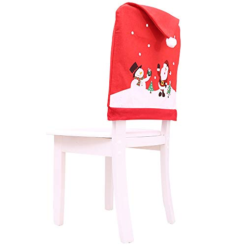 Jia Meng Weihnachts stuhlabdeckung, Kitchen Table Bestickt Chair Covers Weihnachten Ferienhaus Dekoration (Einheitsgröße, C)