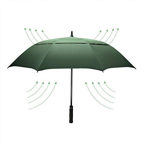 Dmkaka 61 Inch Auto Abierto Paraguas Extra Grande Doble Dosel Paraguas de Golf, Resistente al Viento y Impermeable Paraguas