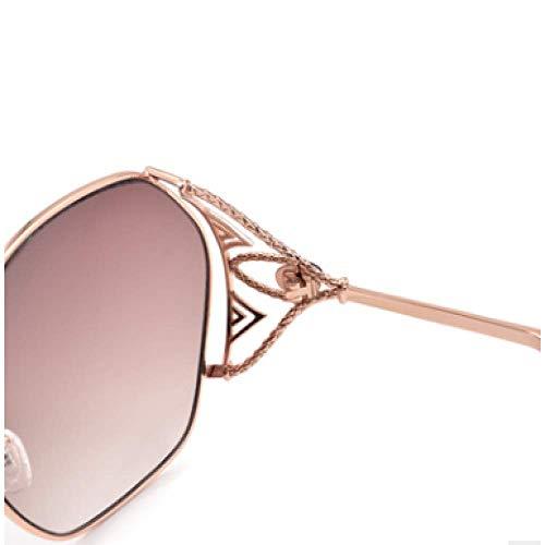 MNGF&GC New Sun Frame Mode Damen Sonnenbrille Retro Sonnenbrille Flut Modelle wilde Sonnenbrille, braune Farbe nähert