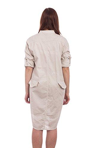 abbino Chemisier pour femme 7035–Fabriqué en Italie–Pointe & lave-vaisselle Lich–4couleurs Beige - Beige