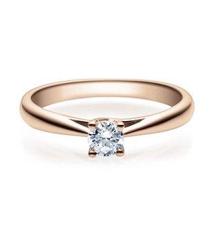 Bague de Fiançailles avec Diamant en Or 585/-Rosé dans Lot de 4griffes