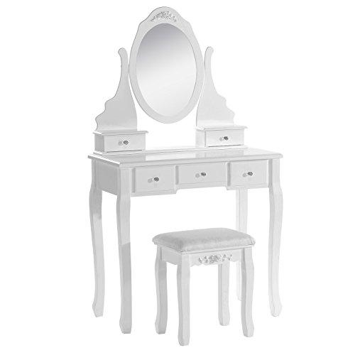 WOLTU Schminktisch Kosmetiktisch Frisiertisch mit Spiegel und Hocker 5 Schubladen MDF und massives Kiefernholz Weiß 80 x 141,5 x 40cm(B x H x T) MB6022cm