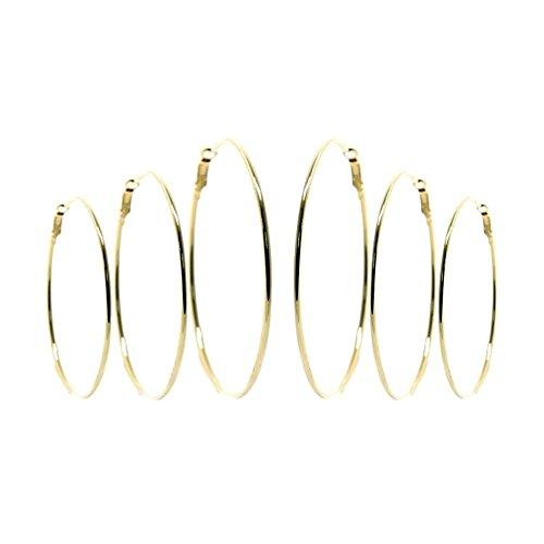 3 paires de boucles d oreilles créoles 60 / 70 / 80 mm Doré