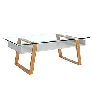 BonVivo - Table Basse Design Donatella Moderne de Salon Blanche pour Servir Le café ou comme Table d'appoint avec Cadre en Bois Naturel et Dessus en Verre