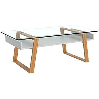 Basse Design Naturel Bonvivo De En Verre Avec Cadre Blanc Table Scandinave Donatella Bois Salon kiOTuPXZ