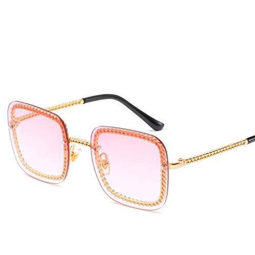 FIRM-CASE Quadrat-Sonnenbrille-Dame-Sonnenbrille-Frauen-Weinlese-Randlos Gradient-Sonnenbrillen Weiblich, 2