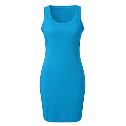 Proumy Sommerkleid für Damen, einfarbig, Club-Kleidung, figurbetont, elegant, kurz, ärmellos, große Größe, Comprar más Con descuento en Proumy, Blau, Comprar más Con descuento en Proumy Small (Descuento Vestidos De)